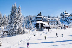 Panorama of ski resort Kopaonik, Serbia, people, houses covered with snow Royalty Free Stock Photography