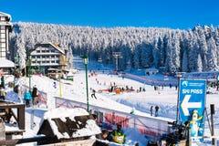Panorama of ski resort Kopaonik, Serbia, people, lift, mountains Royalty Free Stock Image