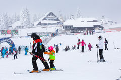 Panorama of ski resort Kopaonik, Serbia, skiers, houses Stock Photos