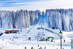 Panorama of ski resort Kopaonik, Serbia, skiers, lift, mountains Stock Images
