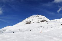 Panorama of ski resort at sunny winter day Royalty Free Stock Photography