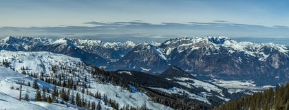 Panorama of ski slope stock image