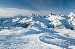 Panorama of ski slopes Stock Photos