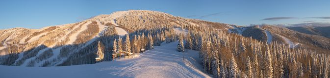 Panorama of ski slopes stock photos