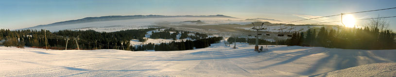 Panorama of ski trail Royalty Free Stock Image