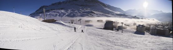 Panorama - Ski vacation in Alpes Stock Image