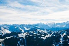 Panorama of skiarea in Portes du Soleil region Stock Photos