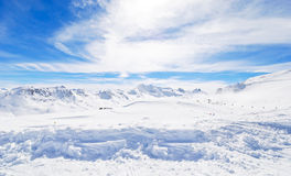 Panorama of skiing area in Paradiski, France Royalty Free Stock Image