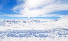 Panorama of skiing area in Paradiski, France Royalty Free Stock Image
