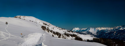 Panorama of skiing resort Niederhorn Stock Images