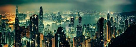 Panorama- skott av aftonen Hong Kong Royaltyfria Foton