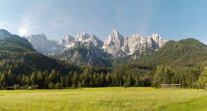 Panorama of Skrlatica and Spik above Gozd Martuljek in Julian Alps Royalty Free Stock Image