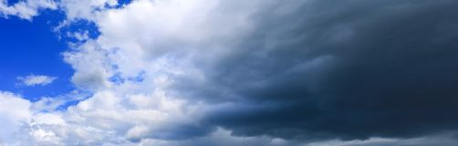 Panorama sky and cloud with storm dark in summer time beautiful background.  stock images