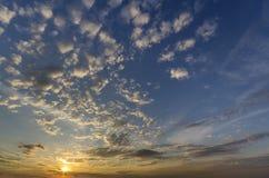 Panorama of sky at sunrise or sunset. Beautiful view of dark blu stock images