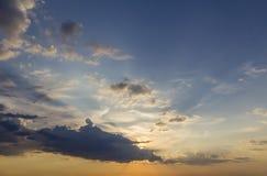 Panorama of sky at sunrise or sunset. Beautiful view of dark blu royalty free stock photo
