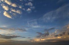 Panorama of sky at sunrise or sunset. Beautiful view of dark blu royalty free stock image