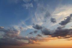 Panorama of sky at sunrise or sunset. Beautiful view of dark blu stock photography