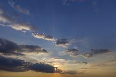 Panorama of sky at sunrise or sunset. Beautiful view of dark blu stock photo