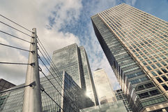 Panorama of skyliline buildings in Canary Wharf Royalty Free Stock Photo
