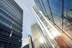 Panorama of skyliline buildings in Canary Wharf Stock Image