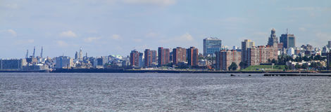 Panorama of the skyline along the bank of Rio de la Plata in Mon Stock Image