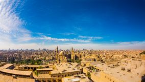 Panorama of the skyline of Cairo. Panoramic view from the citadel of Cairo, Egypt stock photo