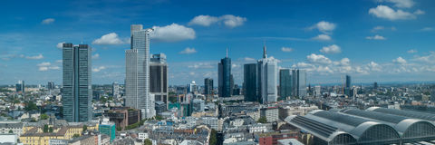 Panorama of the skyline of Frankfurt Stock Images