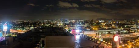 Panorama skyline of Los Angeles at night Royalty Free Stock Photo
