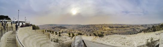 Panorama of Skyline view from the Mount of Olives stock image