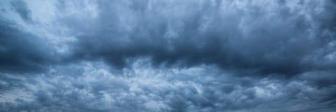 Panorama skyscape of dramatic stormy sky. Panorama skyscape of dramatic stormy overcast sky Stock Photos