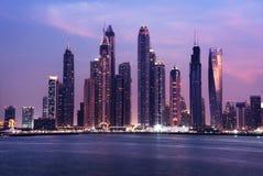 Panorama of skyscrapers in Dubai Marina Stock Image