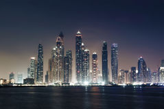 Panorama of skyscrapers in Dubai Marina, sunset time Stock Image