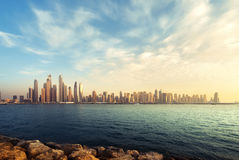 Panorama of skyscrapers in Dubai Marina Royalty Free Stock Photography