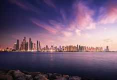 Panorama of skyscrapers in Dubai Marina Stock Photography