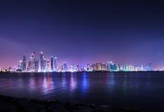 Panorama of skyscrapers in Dubai Marina Stock Images