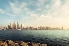 Panorama of skyscrapers in Dubai Marina Stock Photo