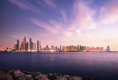Panorama of skyscrapers in Dubai Marina Royalty Free Stock Image