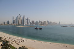 Panorama of skyscrapers in Dubai Marina. UAE Royalty Free Stock Photography