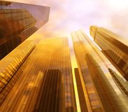 Panorama of skyscrapers of high-rise buildings. Against the sky with clouds, 3D rendering Royalty Free Stock Photos