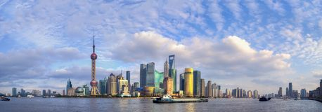 Panorama of skyscrapers by the huangpu river Stock Images