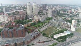 Panorama- skytte av staden från en höjd lager videofilmer