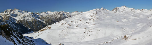 Panorama of Slopes of Saint Larry Soulan Ski resort and Neouviel. Haute Pyrenees panorama from Saint Lary Soulan via Neouvielle massif in winter, following the Stock Image