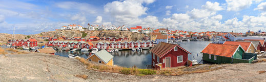 Panorama of Smögen. View to the idyllic fishing village of Smögen on the swedish west coast Royalty Free Stock Image
