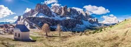 Panorama of small church at Passo Gardena, Dolomites, Italy Stock Photo