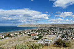 Panorama of small city at the seaside Royalty Free Stock Photos