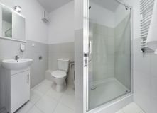 Panorama of small and compact bathroom Royalty Free Stock Photo