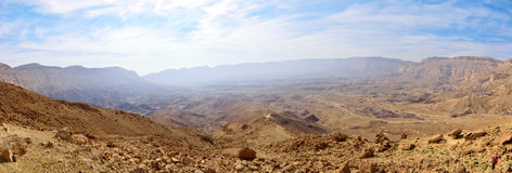 Panorama of Small Crater in Negev desert. Stock Photo