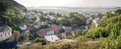 Panorama with small czech village royalty free stock photos