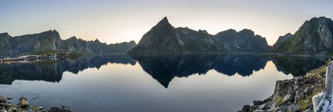 Panorama of small fishing port in the Hamnoy , Norway Stock Images