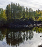 Panorama of small forest lake in the north Royalty Free Stock Images